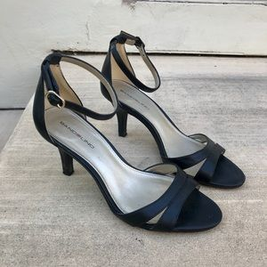 Strappy black ankle heels/sandals
